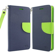 Leather Wallet Shell Case for LG K3 - Navy Blue