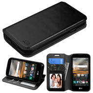 Book-Style Leather Folio Case for LG K3 - Black