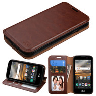 Book-Style Leather Folio Case for LG K3 - Brown