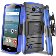 *SALE* Advanced Armor Hybrid Kickstand Case with Holster for LG K3 - Black Blue