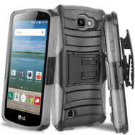 Advanced Armor Hybrid Kickstand Case with Holster for LG K3 - Black Grey