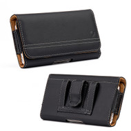 Premium Horizontal Leather Pouch Case - Black