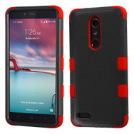 Military Grade Certified TUFF Hybrid Armor Case for ZTE Zmax Pro / Grand X Max 2 / Imperial Max / Max Duo 4G - Black Red