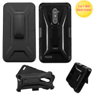 Tough Armor Hybrid Kickstand Case with Holster for ZTE Zmax Pro / Grand X Max 2 / Imperial Max / Max Duo 4G - Black