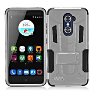 Transformer Hybrid Armor Case with Stand for ZTE Zmax Pro / Grand X Max 2 / Imperial Max / Max Duo 4G - Silver