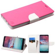 Diary Leather Wallet Case for ZTE Zmax Pro / Grand X Max 2 / Imperial Max / Max Duo 4G - Hot Pink