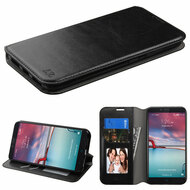 *SALE* Book-Style Leather Folio Case for ZTE Zmax Pro / Grand X Max 2 / Imperial Max / Max Duo 4G - Black