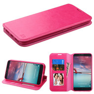 Book-Style Leather Folio Case for ZTE Zmax Pro / Grand X Max 2 / Imperial Max / Max Duo 4G - Hot Pink