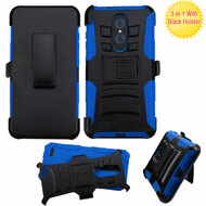 Advanced Armor Hybrid Kickstand Case with Holster for ZTE Zmax Pro - Black Blue