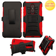 Advanced Armor Hybrid Kickstand Case with Holster for ZTE Zmax Pro - Black Red