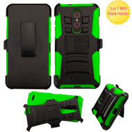 Advanced Armor Hybrid Kickstand Case with Holster for ZTE Zmax Pro - Black Green