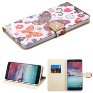 *SALE* Art Design Portfolio Leather Wallet for ZTE Zmax Pro / Grand X Max 2 / Imperial Max / Max Duo 4G - Butterfly
