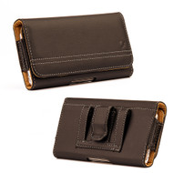 Premium Horizontal Leather Pouch Case - Brown