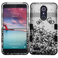 Military Grade TUFF Hybrid Armor Case for ZTE Zmax Pro / Grand X Max 2 / Imperial Max / Max Duo 4G - Lace Flowers Black