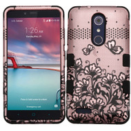 Military Grade TUFF Hybrid Armor Case for ZTE Zmax Pro / Grand X Max 2 / Imperial Max / Max Duo 4G - Lace Flowers