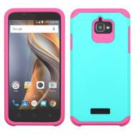 Hybrid Multi-Layer Armor Case for Coolpad Catalyst - Teal Hot Pink