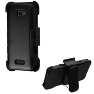 Military Grade Certified TUFF Hybrid Armor Case with Holster for Coolpad Catalyst - Black