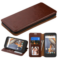 *Sale* Book-Style Leather Folio Case for Coolpad Catalyst - Brown