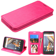 Book-Style Leather Folio Case for Coolpad Catalyst - Hot Pink