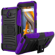 Advanced Armor Hybrid Kickstand Case with Holster for Coolpad Catalyst - Black Purple