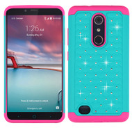 TotalDefense Diamond Hybrid Case for ZTE Zmax Pro - Teal Hot Pink
