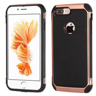 Electroplated Tough Anti-Shock Hybrid Case with Leather Backing for iPhone 8 Plus / 7 Plus - Black
