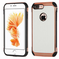 Electroplated Tough Anti-Shock Hybrid Case with Leather Backing for iPhone 8 Plus / 7 Plus - White
