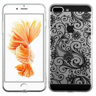 Floral Rubberized Crystal Case for iPhone 8 Plus / 7 Plus - Black