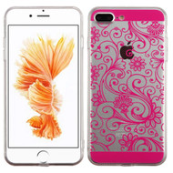 Floral Rubberized Crystal Case for iPhone 8 Plus / 7 Plus - Hot Pink