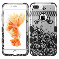 Military Grade TUFF Image Hybrid Armor Case for iPhone 8 Plus / 7 Plus - Lace Flowers Black