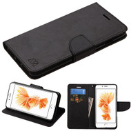 Diary Leather Wallet Case for iPhone 8 Plus / 7 Plus - Black