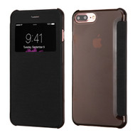 Book-Style Hybrid Flip Case with Window Display for iPhone 7 Plus - Black