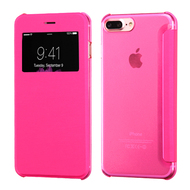 Book-Style Hybrid Flip Case with Window Display for iPhone 8 Plus / 7 Plus - Hot Pink