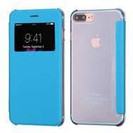 Book-Style Hybrid Flip Case with Window Display for iPhone 8 Plus / 7 Plus - Blue