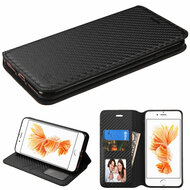 Book-Style Leather Folio Case for iPhone 7 Plus - Carbon Fiber