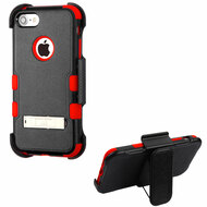 Military Grade Certified TUFF Hybrid Armor Kickstand Case with Holster for iPhone 8 / 7 - Black Red