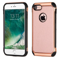 Electroplated Tough Anti-Shock Hybrid Case with Leather Backing for iPhone 8 / 7 - Rose Gold