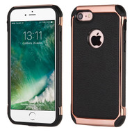 Electroplated Tough Anti-Shock Hybrid Case with Leather Backing for iPhone 8 / 7 - Black