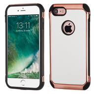 Electroplated Tough Anti-Shock Hybrid Case with Leather Backing for iPhone 8 / 7 - White