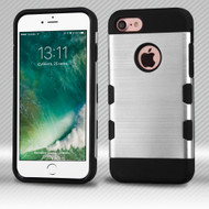 Military Grade Certified TUFF Trooper Dual Layer Hybrid Armor Case for iPhone 8 / 7 - Brushed Silver