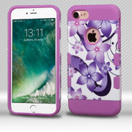 Military Grade Certified TUFF Trooper Dual Layer Hybrid Armor Case for iPhone 8 / 7 - Purple Hibiscus Flower Romance