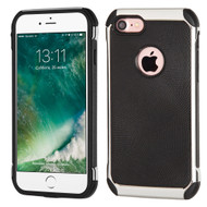 Chrome Tough Anti-Shock Hybrid Case with Leather Backing for iPhone 8 / 7 - Black
