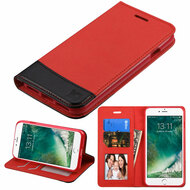 Premium Leather Wallet Book Case for iPhone 8 / 7 - Red
