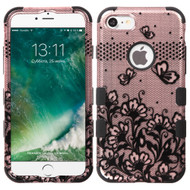 Military Grade Certified TUFF Image Hybrid Armor Case for iPhone 8 / 7 - Lace Flowers Rose Gold