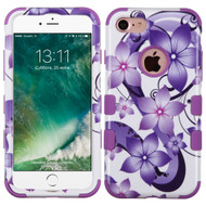 Military Grade Certified TUFF Image Hybrid Armor Case for iPhone 8 / 7 - Purple Hibiscus Flower Romance