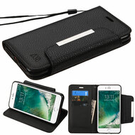 Designer Leather Wallet Shell Case for iPhone 8 / 7 - Black