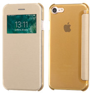 Book-Style Hybrid Flip Case with Window Display for iPhone 8 / 7 - Gold
