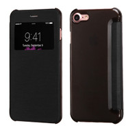 Book-Style Hybrid Flip Case with Window Display for iPhone 8 / 7 - Black