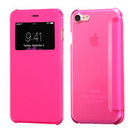 Book-Style Hybrid Flip Case with Window Display for iPhone 8 / 7 - Hot Pink