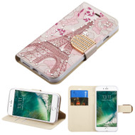 Art Design Portfolio Leather Wallet for iPhone 8 / 7 - Eiffel Tower